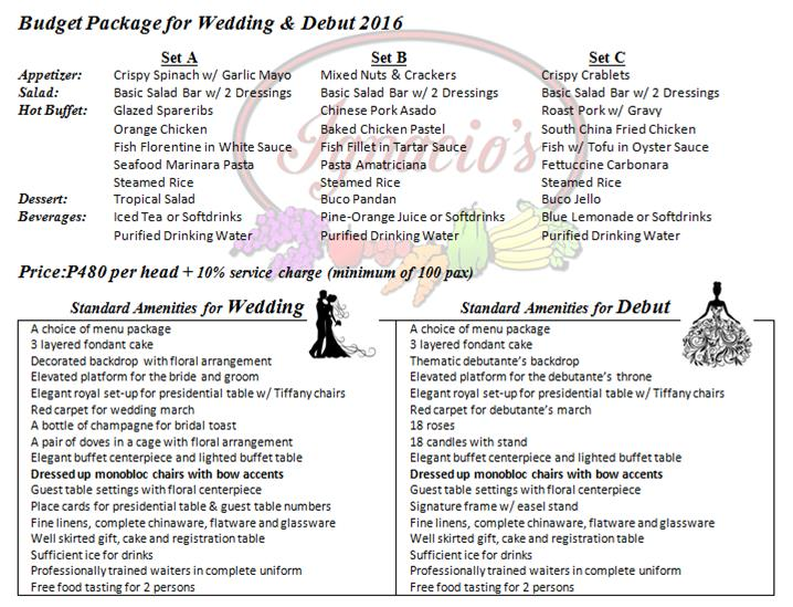 Hotel Wedding Menu